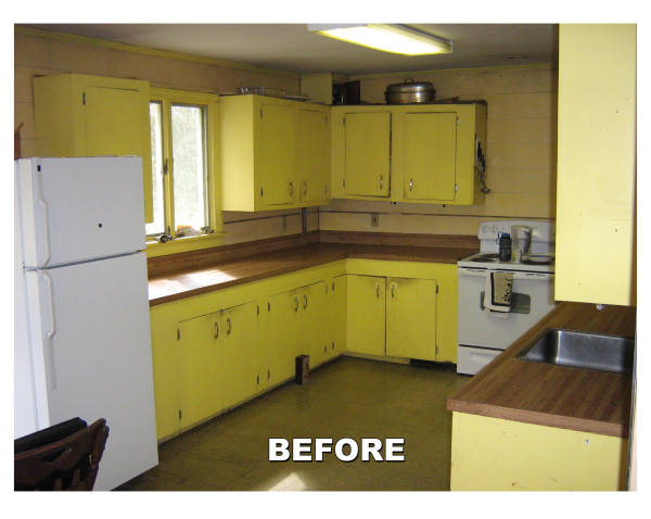 yellow metal cabinets that were not candidates for refacing