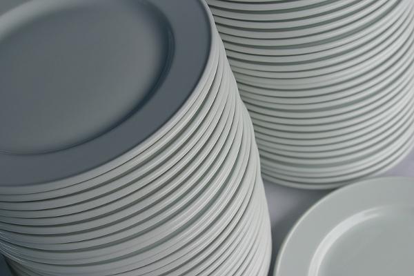 organized stack of kitchen plates