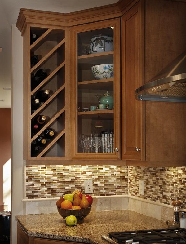updated kitchen cabinets with wine storage