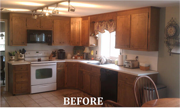 Cambria Canterbury countertop and Antique White cabinets Before