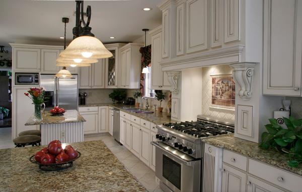 kitchen with santa cecelia countertop