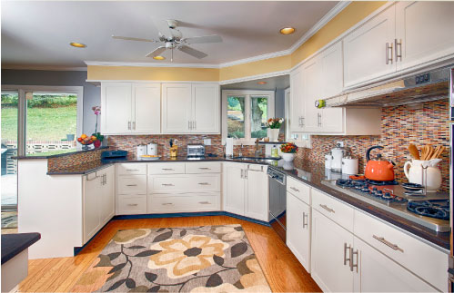 Contrasting Color Choices. Yellow Kitchen Walls