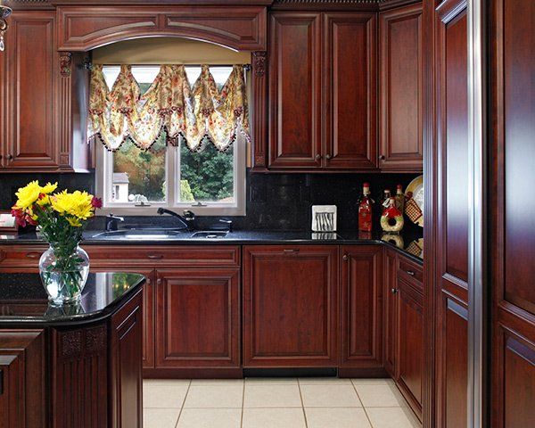 cherry cabinets and countertop pairings