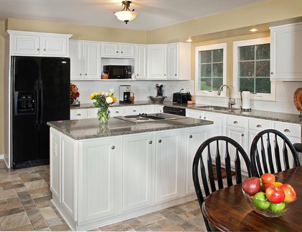 frosty white cabinets with cambria quartz countertop