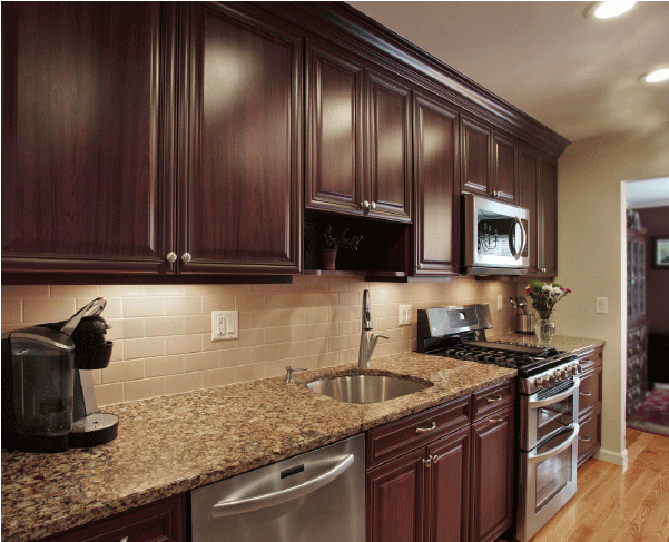 how to pair countertop colors with dark cabinets