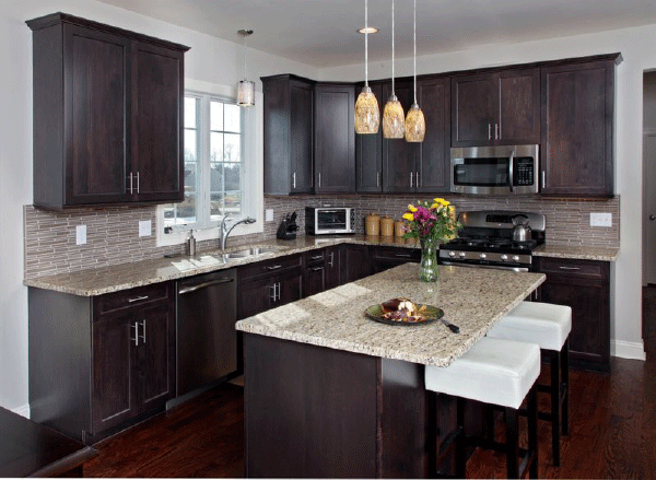 Dark Cabinets With Gold Countertops