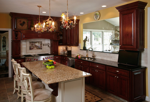 cherry cabinets and granite countertop