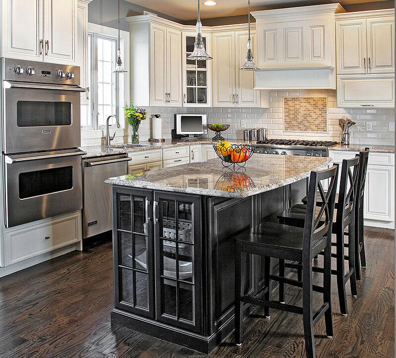 Two-tone design with black kitchen island