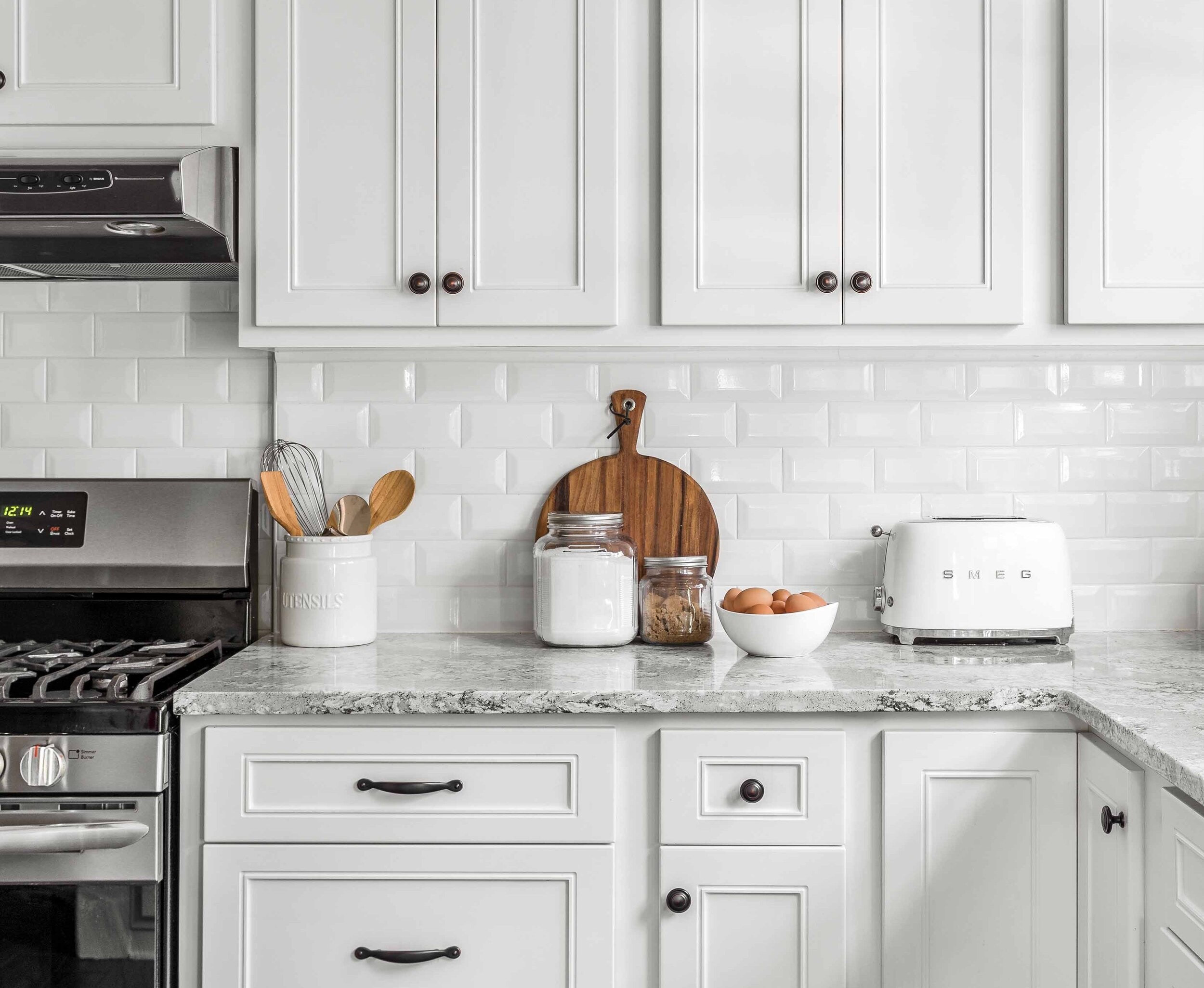 All White Kitchen with Pops of Color