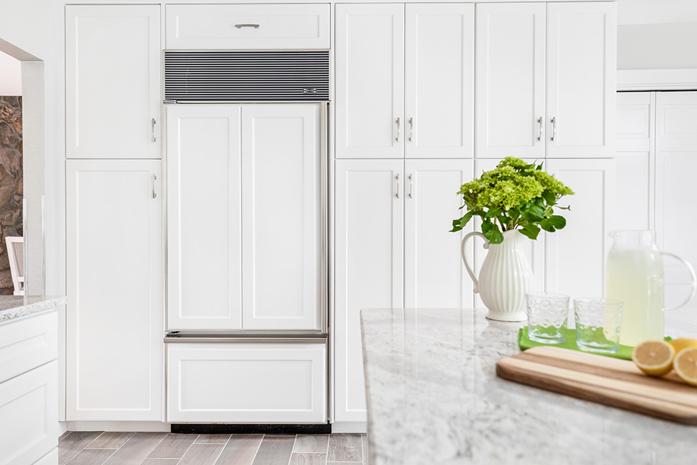 Large White Pantry with Grey Flooring