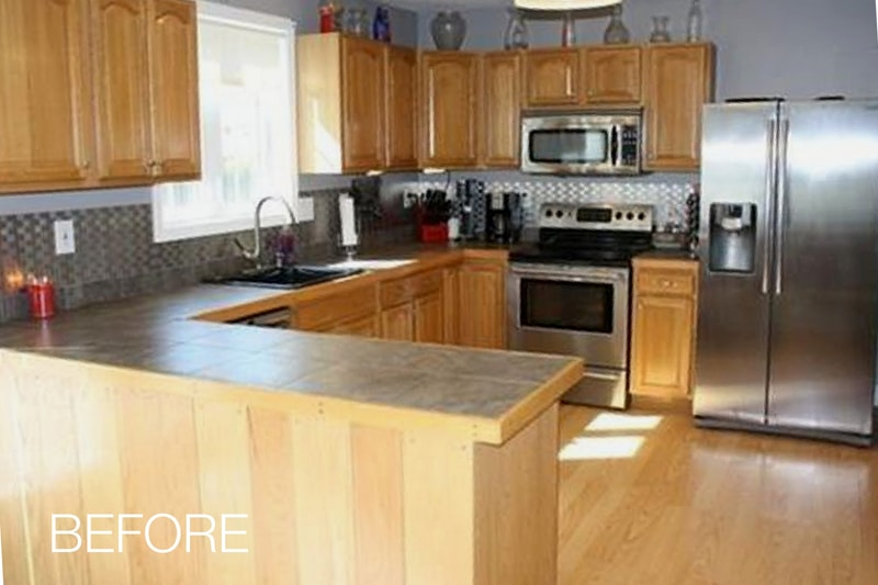 Cabinet Refacing White Kitchen Befor Photo