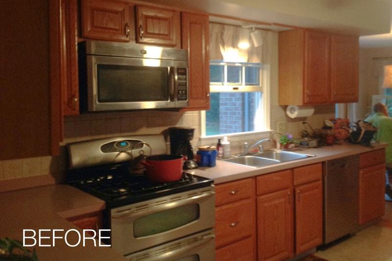 Kitchen Before Cabinet Resurfacing