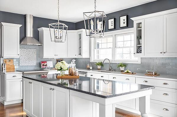 White Kitchen with Blue Accent Colors