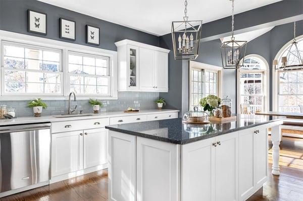 blue and white quartz kitchen countertops