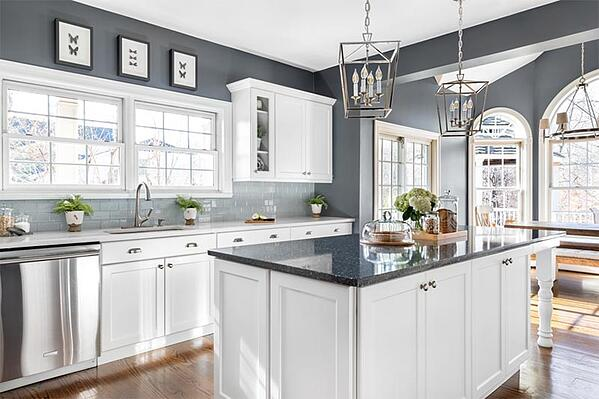 blue and white quartz kitchen countertops