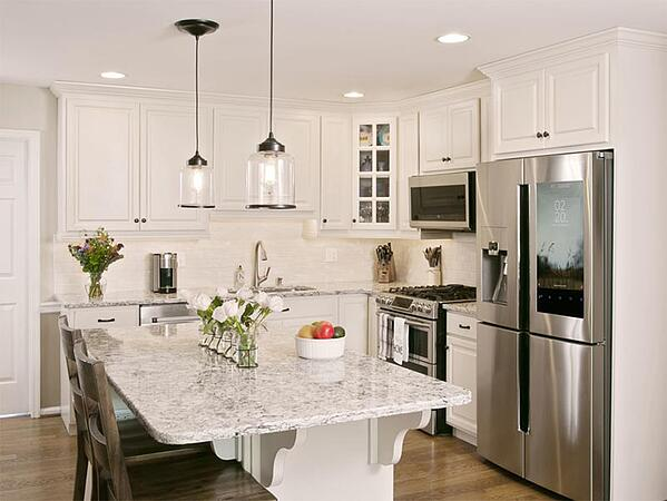 Kitchen with pendant lights
