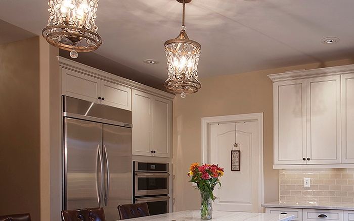Aged Brass and Crystal Kitchen Chandeliers