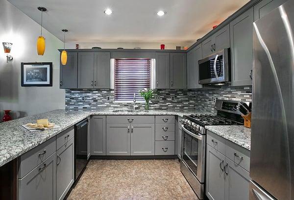 Contemporary gray u-shape kitchen