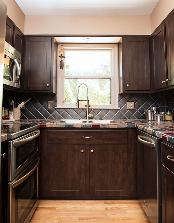Small galley kitchen with shaker cabinets