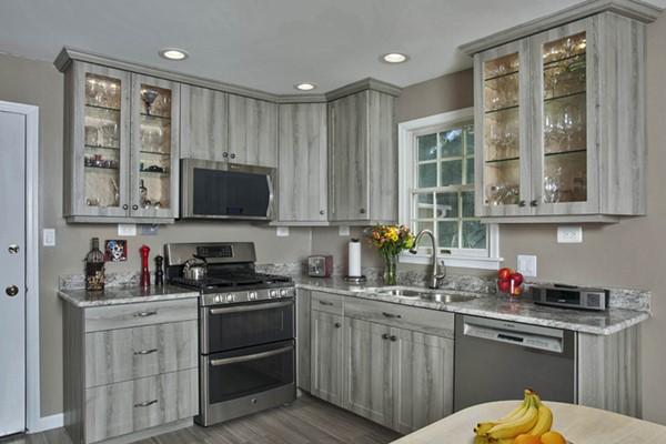 Barnwood gray kitchen cabinets