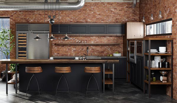 black and brick industrial kitchen