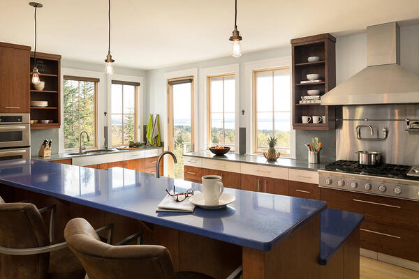 blue kitchen countertop