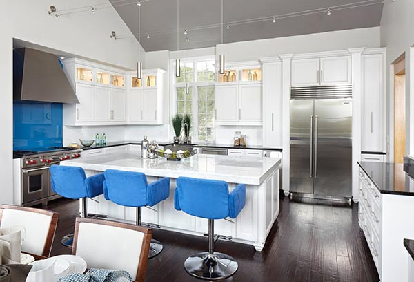 blue kitchen island stools