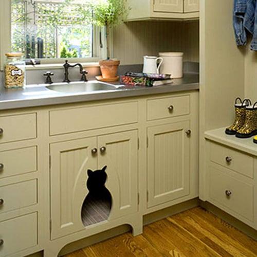 Cat Cutout in Kitchen