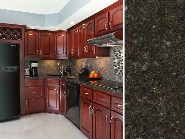 Red Cherry Kitchen Cabinets and Granite Uba Tuba Countertop