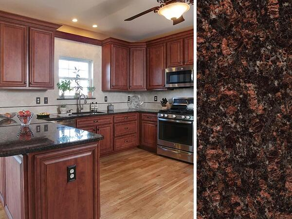 Cherry Cabinets and Dark Granite Tan Brown Countertop