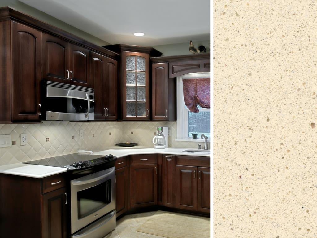 Dark Cherry Cabinets Paired With Light Silestone Quartz Countertop