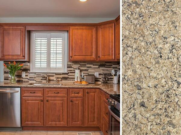 Cherry Cabinets with Neutral Cambria Quartz Countertop