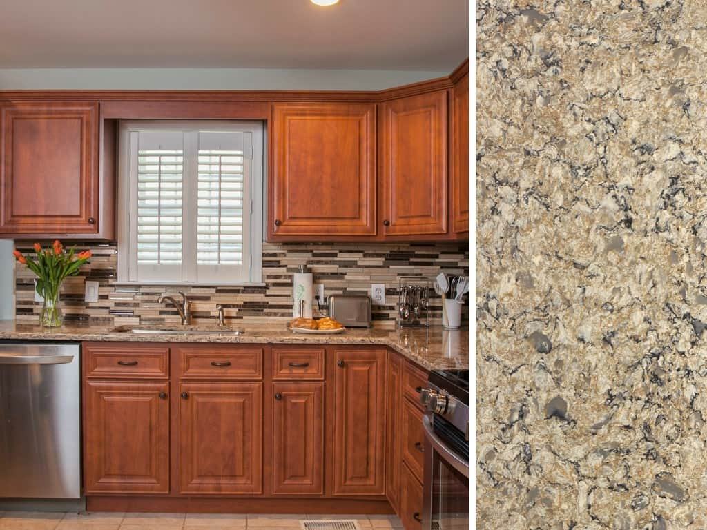 Cherry Cabinets with Neutral Cambria Quartz Countertop & What Countertop Color Looks Best with Cherry Cabinets?