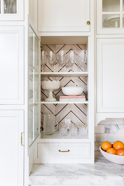 chevron lined kitchen cabinet