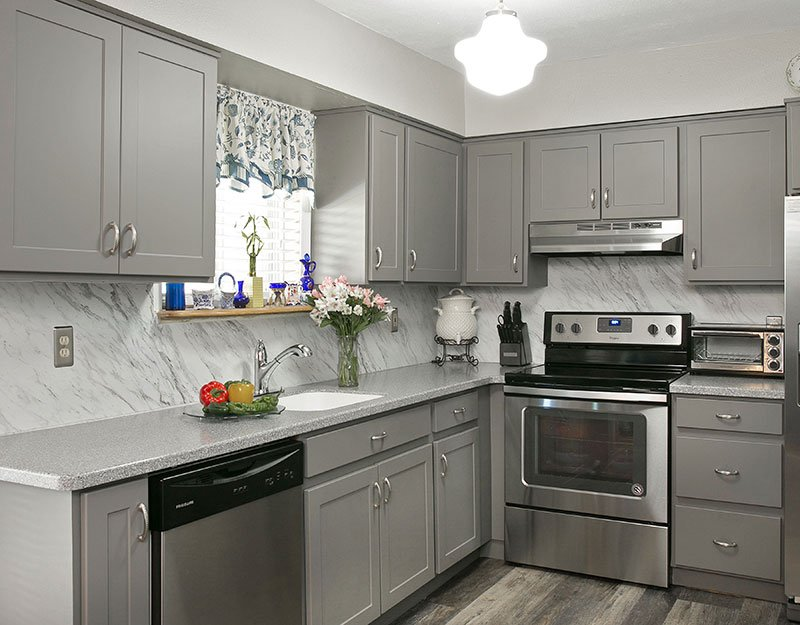 Gray Laminate Kitchen Cabinets