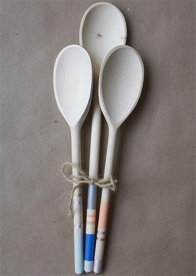Wooden Spoons with Colorblock and Stripes