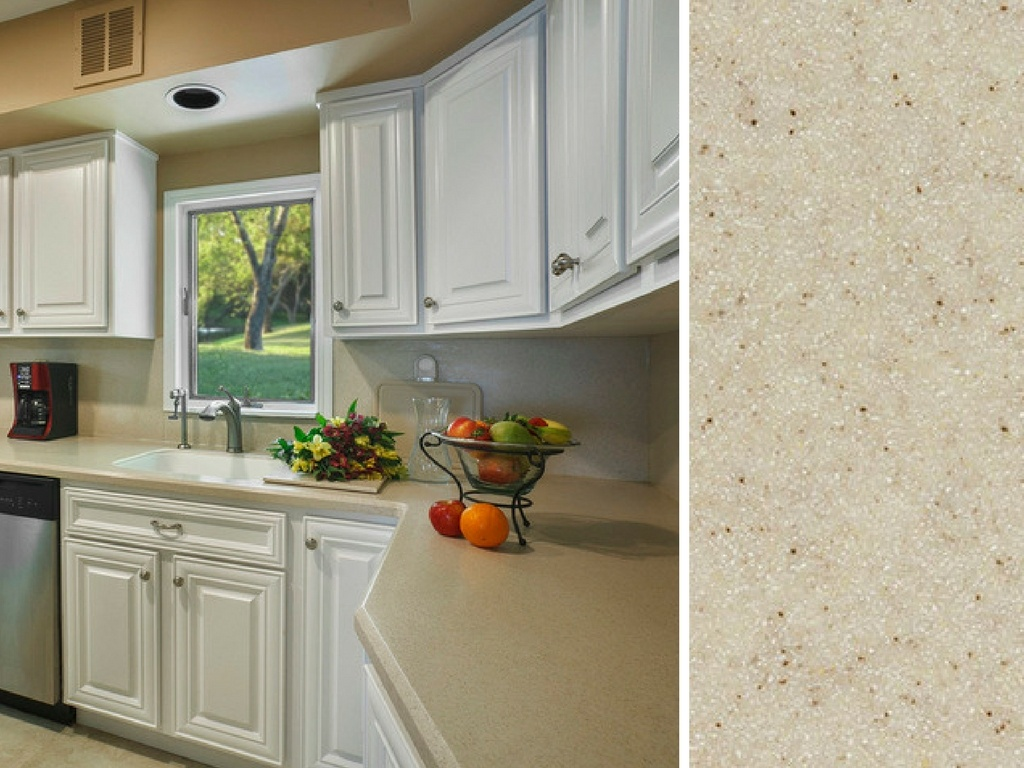 White Kitchen with Corian® Countertop in Mojave