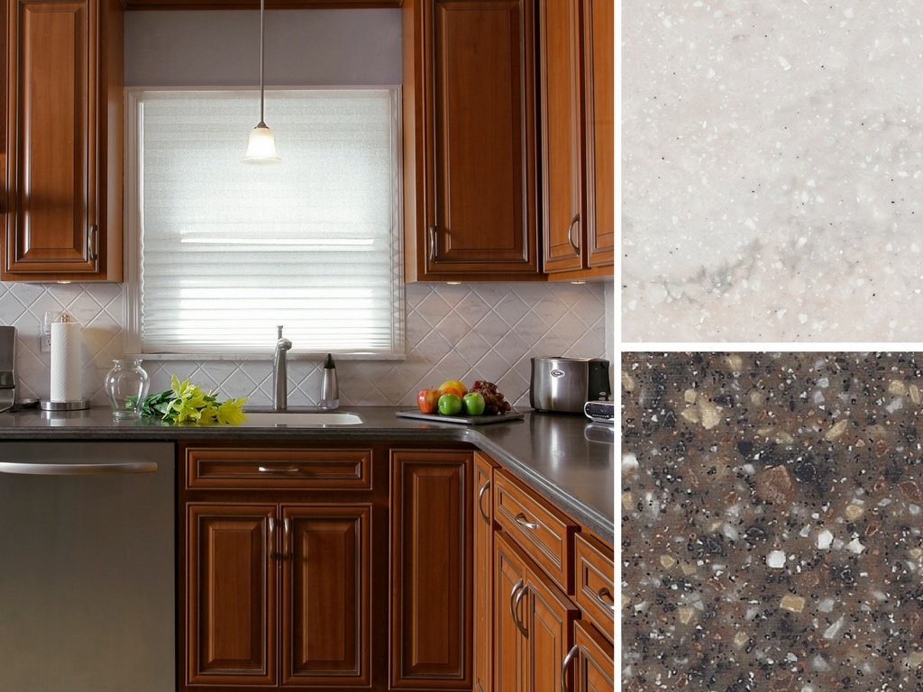 Kitchen with Corian® Countertop in Mojave and Corian® Backsplash in Rain Cloud