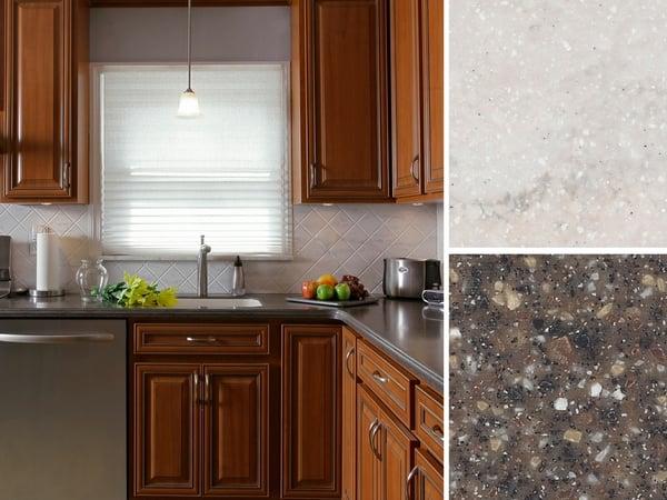 Kitchen with Corian® Countertop in Mojave and Corian® Backsplash in Rain Cloud