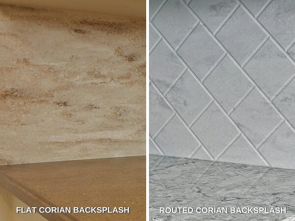 Corian Flat and Routed Backsplash Comparison