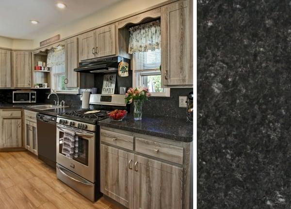 Gray Cabinets and Laminate Countertops