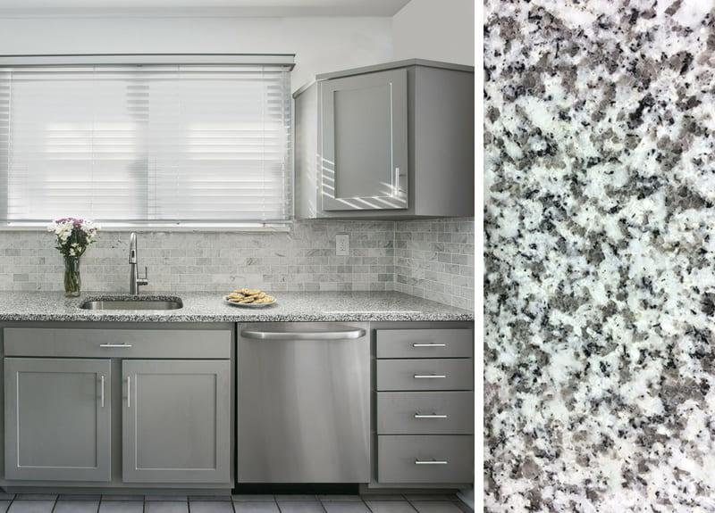 Gray Cabinets and Granite Countertops