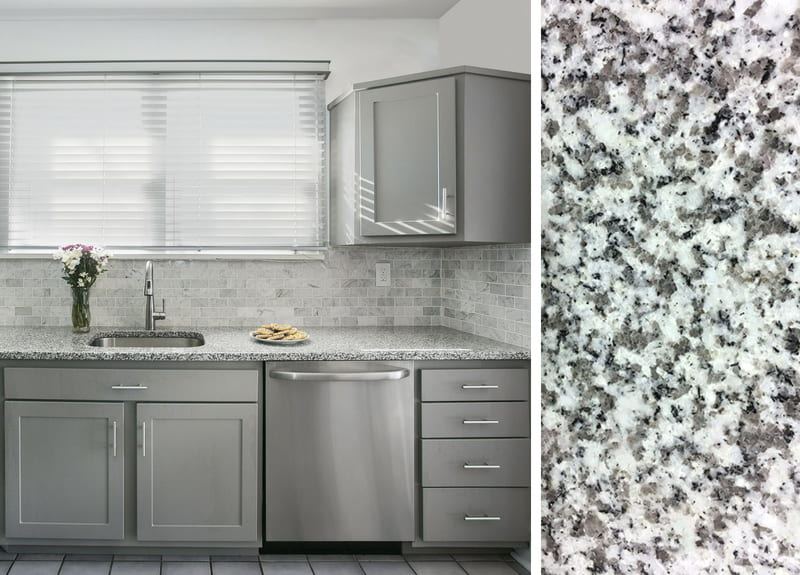 Gray Cabinets and Granite Countertops