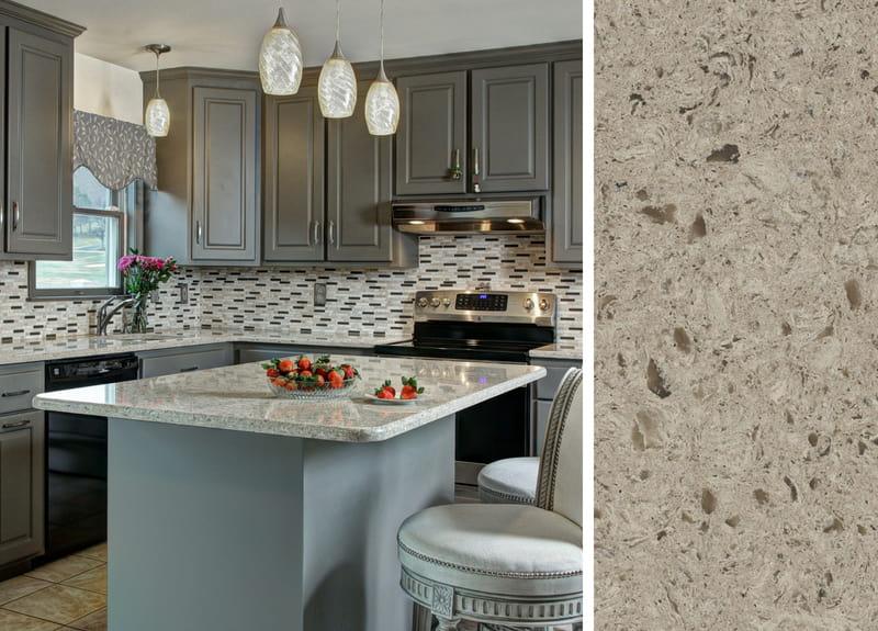Gray Cabinets and Quartz Countertops