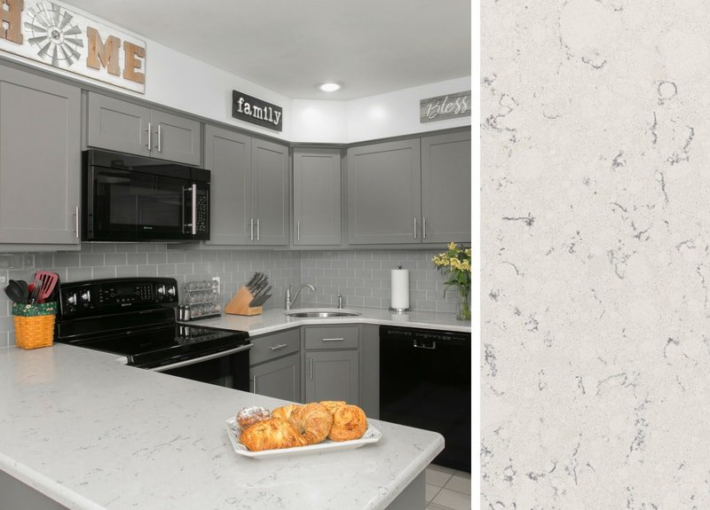 Countertops that go with Gray Cabinets