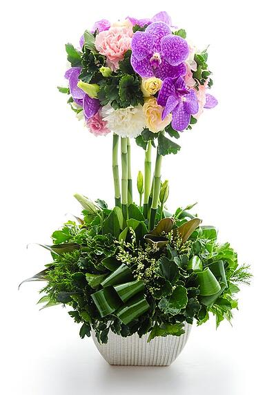 Silk Flower Topiary Floral Arrangement