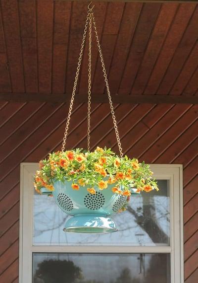 DIY Colander Hanging Planter