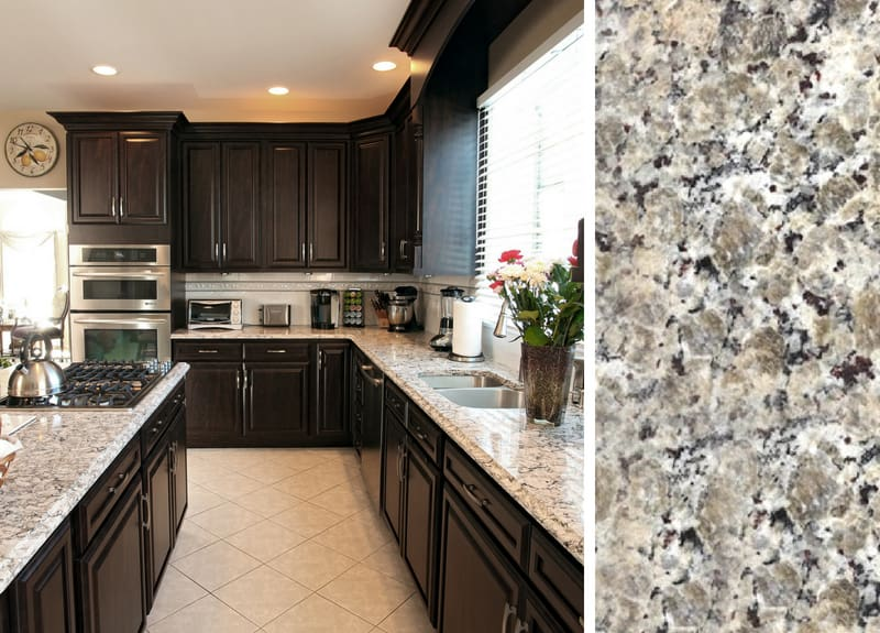 Dark Kitchen Cabinets with Butterfly Beige Granite Countertop