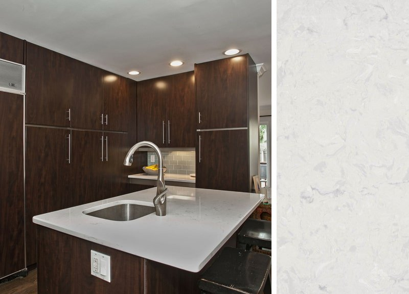 Dark Cabinets with Quartz Kitchen Countertop