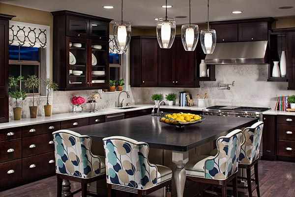 Dark Kitchen with Bold Accent Colors